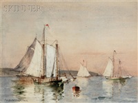 coasting schooners off shore by walter franklin lansil
