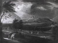 zeltlager vor einer stadt mit burg by carl sebastian von bemmel