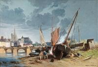 ship yard near a breton town by jules achille noel