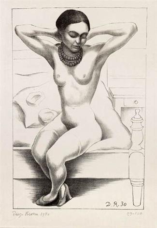 desnudo sentado con brazos levantados frida kahlo by diego rivera