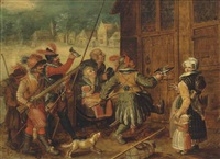 soldiers forcing their way into a house in a village in winter by david vinckboons