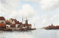 view of the inner harbour by hermanus koekkoek the younger