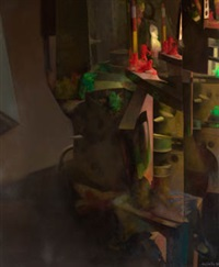 mirror, red figures, green figures by miguel angel arguello