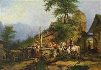 lebhaftes treiben am brunnen in alpenländischem dorf mit see und gebirgshorizont by carl bastini