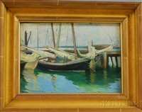 sailboats at dock by frank o. small