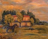 horse in the field by michel adlen