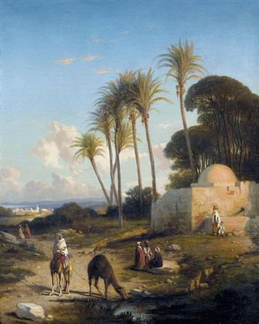 orientalische landschaft mit kamelreiter by prosper georges antoine marilhat