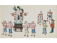 a group of chinese export pith paper paintings (12 works) by anonymous (19)