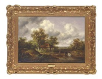 a wooded landscape with a woodsman watering cattle at a pond by richard h. hilder