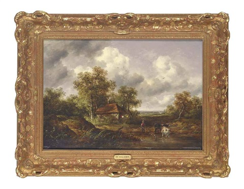 a wooded landscape with a woodsman watering cattle at a pond by richard h hilder