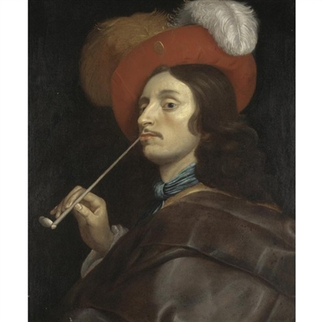 a cavalier smoking a pipe by theodoor rombouts