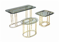 a group of three brass and glass tables by anonymous (20)