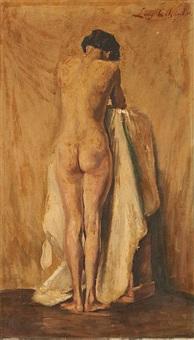 jeune femme nue de dos à sa toilette by louis colsoul