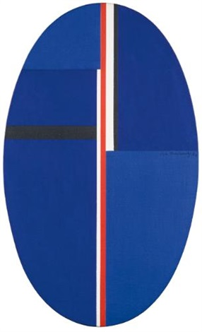 untitled (blue oval with red line) by ilya bolotowsky