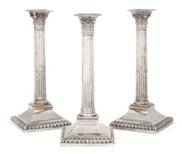 corinthian column candlesticks (set of 3) by john langman and william gibson
