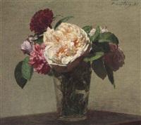 roses thé et roses rouges dans un verre by henri fantin-latour