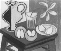 stilleven met appels en een bloem by geni (eugen) peter