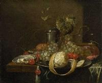 stillleben mit früchten, austern und silbergefäß by guilliam van deynum