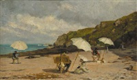 artists painting on the beach by léon barillot