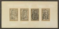 the four evangelists: john, luke, mark and matthew (4 works framed as 1) by heinrich aldegrever