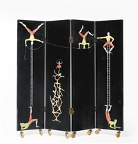 four-panel acrobats screen by piero fornasetti