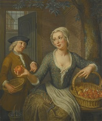 a young girl selling oranges by hieronymus van der mij