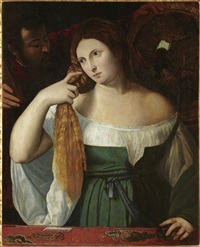 a lady at her toilette by titian (tiziano vecelli)