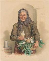 fröhliche rettichverkäuferin im wirtshaus by peter krämer