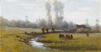 sommerliche wiesenpartie mit kühen und bäuerin by armand auguste freret