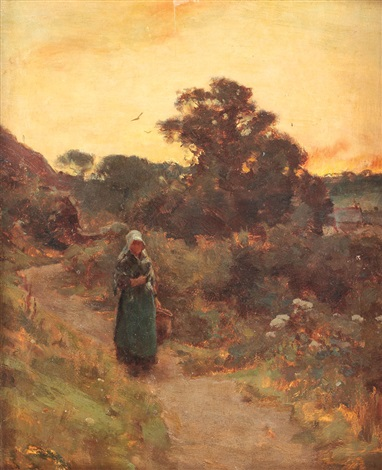landscape at sunset, girls from bretania on the way home by charles françois daubigny