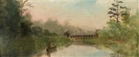 toronto river scene (+ 2 others, similar; 3 works) by john wycliffe lewis forster