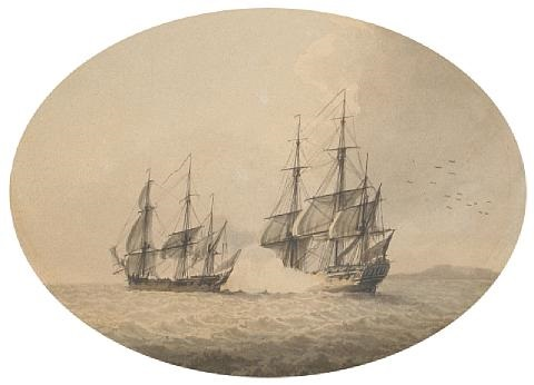 moored boats in a harbor encounter at sea pair by samuel atkins