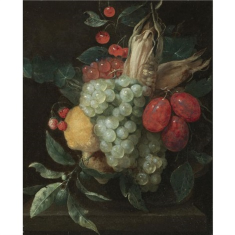 a still life with a festoon of grapes, plums, lemons, cherries, wild strawberries and a corn on the cob by jan pauwel gillemans the elder