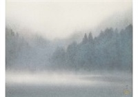 morning mist in mountain lake by somei tsubouchi