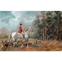 colonel murray-smith, joint master of the fernie on a grey hunter with hounds by john theodore eardley kenney