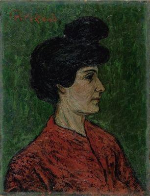 portrait augusta girieud en rouge by pierre paul girieud