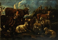 a drover with his flocks before a town; a drover resting with his flock before a town (2) by philipp peter roos
