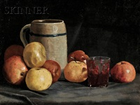 still life with apples and stein by ben foster