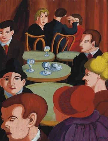 café in rue de la gaité by sir cedric lockwood morris