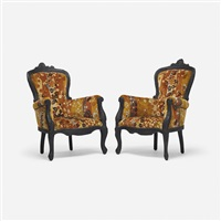 smoke armchairs, pair by maarten baas