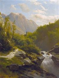 sommerliches gebirgsbachtal by leopold heinrich vöscher