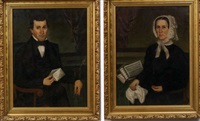 portrait of a man (+ portrait of a woman; pair) by gloria welby fisher