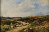 on rydal fell, a shepherd in the foreground by david bates