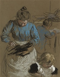 woman sewing, accompanied by two children by horace mann livens