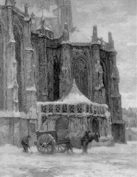 a view of bois-le-duc in winter with a horse-drawn cart in front of the oude sacristie cathedral by frans slager