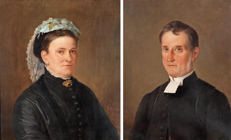 kontraktsprosten i konga härad kyrkoherden i tingsås carl gustaf mozart 1825 1917 och hans hustru louise 1831 1911 pair by bengt nordenberg