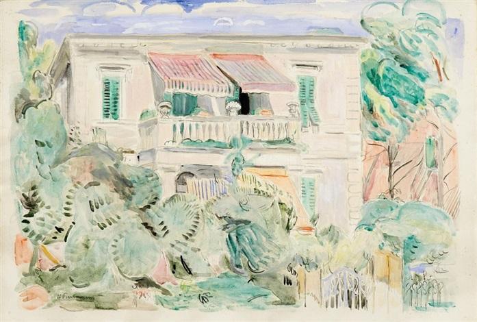 villa mit balkon und markisen castiglioncello by hans purrmann
