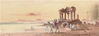 arabs at the ruins on the banks of the nile by a. e. boler