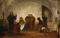 armenpredigt in einem alten kellergewölbe by wilhelm von lindenschmit the younger