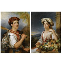 the fruit seller (+ the fisherman; 2 works) by wilhelm alexandrowitsch golicke